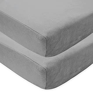 "American Baby Company Pack of 2 Heavenly Soft Chenille Fitted Crib Sheet for Standard Crib and Toddler Mattresses, Grey, 28"" x 52"", for Boys and Girls"