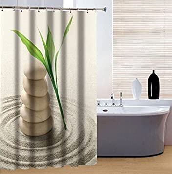 BBFhome Rideaux de douche Rideau 120 X 180 CM pierres faire pression tissu polyester e avec des crochets yifyoung