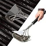 HUBOO Grill Brush Barbecue Cleaning Scraper Safe 18'' Stainless Steel Wire 3 in 1 Bristles Head BBQ Cleaning Brush Great Grilling Accessories for Grill Cooking Cleaning