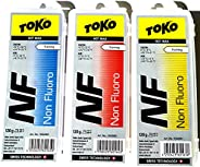 Toko Triple Pack NF 120g ski Wax Red, Yellow and Blue Training superkit Bundle (360g Total)
