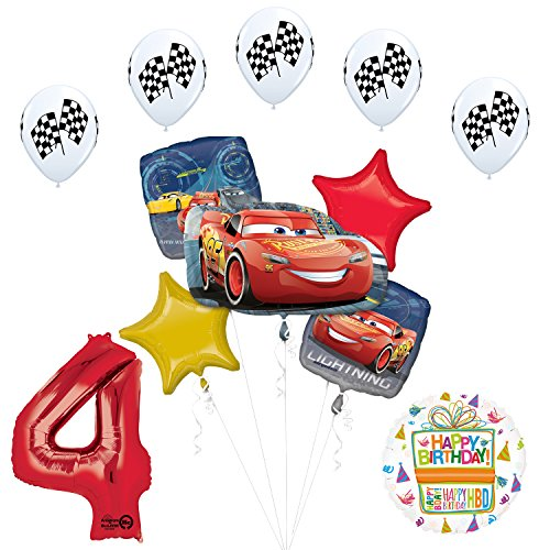 Mayflower Products Disney Cars 3 Lightning McQueen 4th Birthday Party Supplies and Balloon -