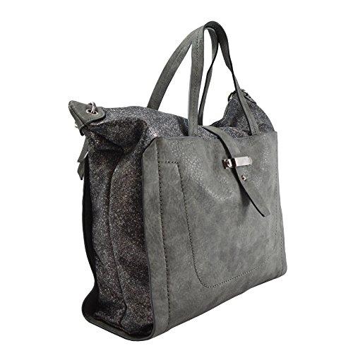 Cm Grigio con Pelle in Shopper Mano Tracolla Lookat Borsa Donna da 36x34x12 a Eco qCnBxwa