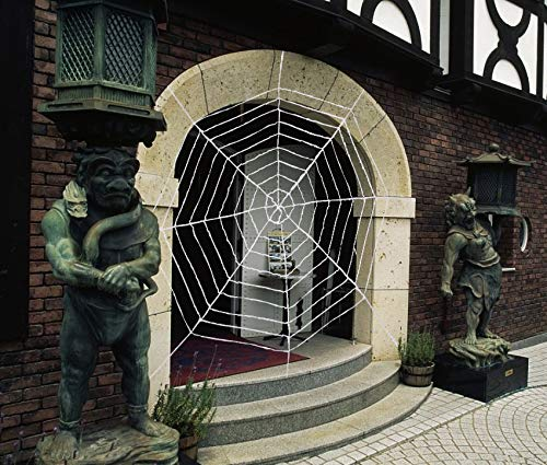 QBSM Halloween Decorations White Spider Web Stretch Outdoor Indoor Large Props Giant Web House Outside Decor 150 inch