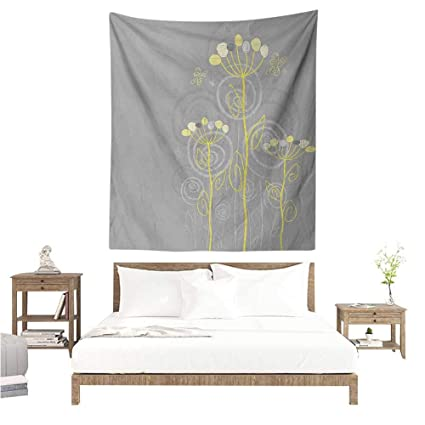 WilliamsDecor Beach Throw Blanket Grey And Yellow Under The Sea Inspired  Flowers Abstract Swirls Backdrop 54W