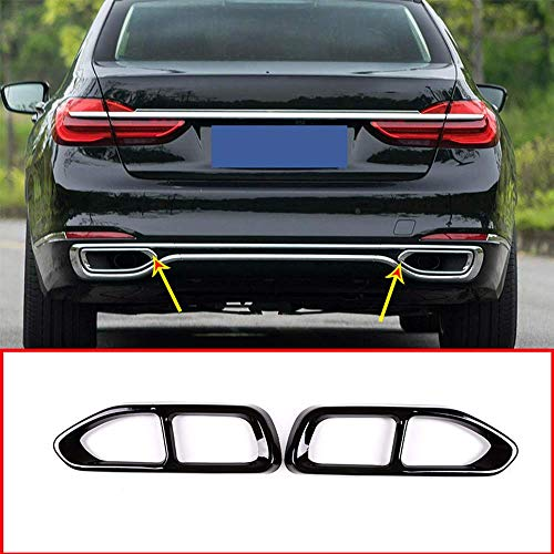 YIWANG 304 Stainless Steel Pipe Throat Exhaust Outputs Tail Frame Trim Cover 2Pcs For BMW 7 Series G11 G12 730 740 750li 2016-2019 Auto Accessories (Gloss Black)