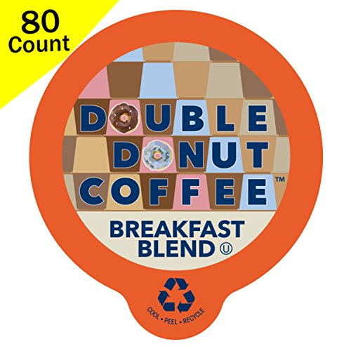 Double Donut Breakfast Blend Coffee, In Recyclable Single Serve Cups For Keurig K Cup Brewers, 80 Count