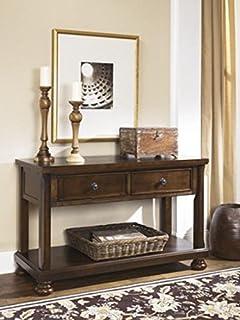 Ashley Furniture Signature Design   Porter Sofa Table   Rustic Style  Entertainment Console Table   Rectangular