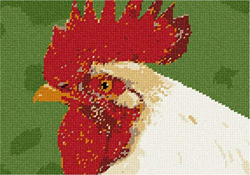 Pepita White Rooster Needlepoint - Needlepoint Rooster