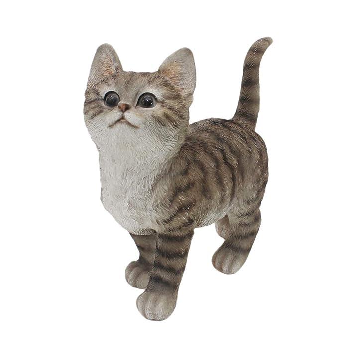 CITONG Cat Garden Statue in Grey Best Art Décor for Indoor or Outdoor