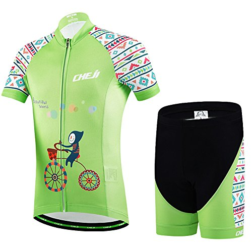 Ateid Children Boys' Girls' Cycling Jersey Set Short Sleeve with 3D Padded Shorts Beautiful World 7-9 Years