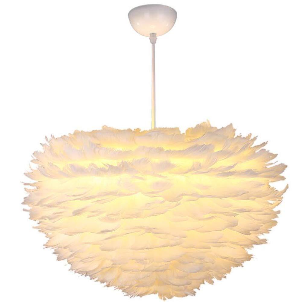 HuiKai Schlafzimmer licht kreative Feder Kronleuchter Personalisierte Restaurant Schlafzimmer Lampe romantische warme Esstisch Pendelleuchte,DaylightWeiß,600  350mm