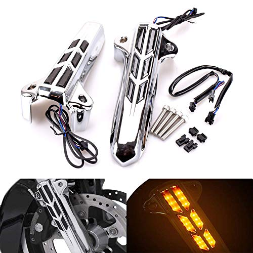 For Harley Davidson Touring Road Glide Road King Street Glide Ultra Limited Electra Glide FLH FLHT FLHX FLHR 2014 2015 2016 2017 2018 Front Lower Fork Leg Covers Slider LED ()