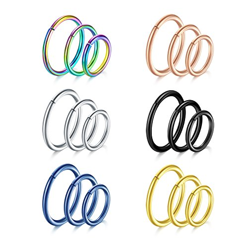 Vcmart 18pcs 18G 316L Stainless Steel Seamless Nose Rings Cartilage Hoop (Ring Nose 18g Seamless)