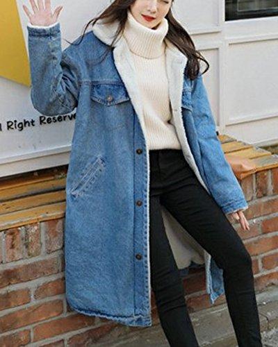 Stile Allineato Cappotto Spesso Jacket Blu Ricamati Giacca Jean Sciolto Sezione Casual Denim Lunga Chiaro Giacche Inverno Eleganti Cappotti fCq7dwfnx
