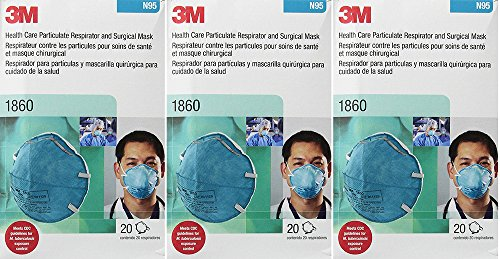 3M 1860 N95 RESPIRATOR AND SURGICAL QFILw MASK, 20 Count ...