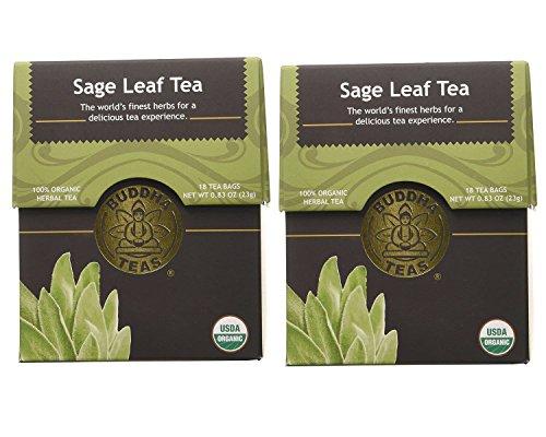 Organic Sage Leaf Tea - Kosher, Caffeine Free, GMO-Free - 18 Bleach Free Tea Bags (Pack of 2)