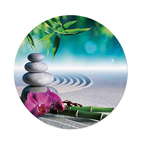 iPrint Polyester Round Tablecloth,Spa Decor,Sand Orchid and Massage Stones in Zen Garden Sunny Day Meditation,Dining Room Kitchen Picnic Table Cloth Cover,for Outdoor Indoor by iPrint
