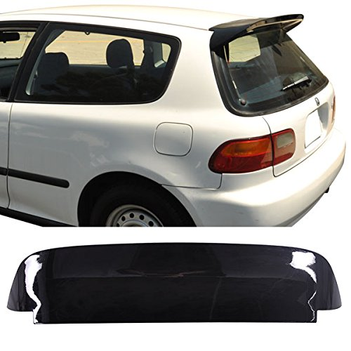 Lip Spoon Civic - 92-95 Honda Civic SPOON Duckbill Style 3Dr Roof Spoiler Painted Glossy Black ABS