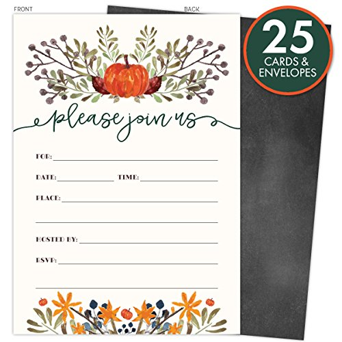 Rustic Fall Invitations in Autumn Colors with Pumpkin and Florals. 25 Fill In Style Cards and Envelopes for Thanksgiving, Harvest Party, Birthday, Engagement, Bridal and Baby Shower, or Any Occasions.