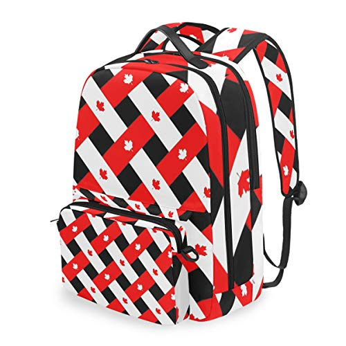 Canadian Maple Leaf Plaid 15 Inch Travel Laptop Backpack College School Computer Bags Cross Bag