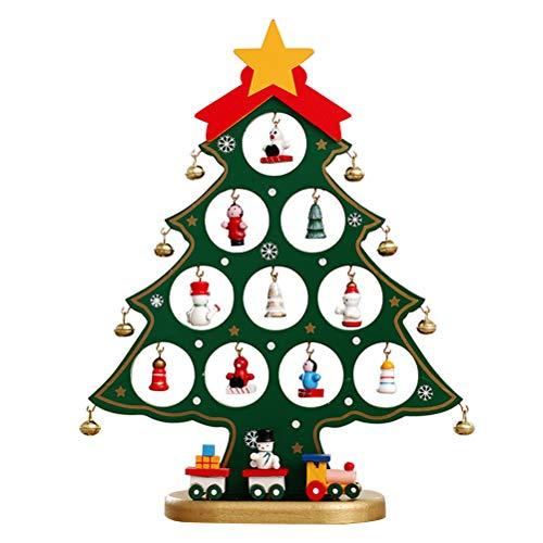 BESTOYARD Mini Mesa de Madera árbol de Navidad Mesa de Navidad Decoraciones de Escritorio Regalo de Vacaciones (Verde)