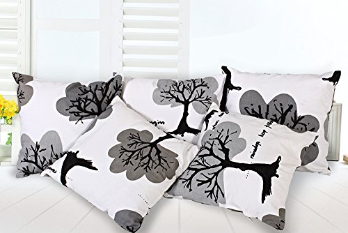 Story@Home White Premium Printed Cushion Cover set of 5 Pc