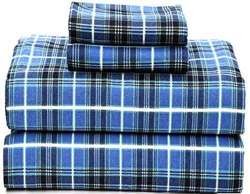 Ruvanti 100% Cotton 4 Piece Flannel Sheets Queen - Deep Pocket - Warm - Super Soft - Breathable Flannel Bed Sheet Set Queen Include Flat Sheet, Fitted Sheet & 2 Pillowcases (Queen, Blue Plaid)