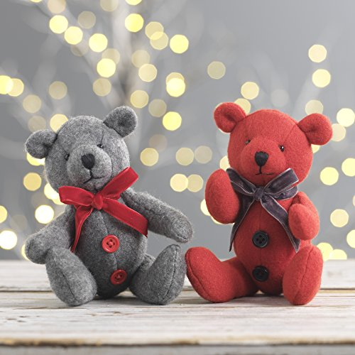 RAZ Imports Christmas Stuffed Red and Gray Bear Ornament - Set of 2 (Ornament Christmas Bear Tree Teddy)