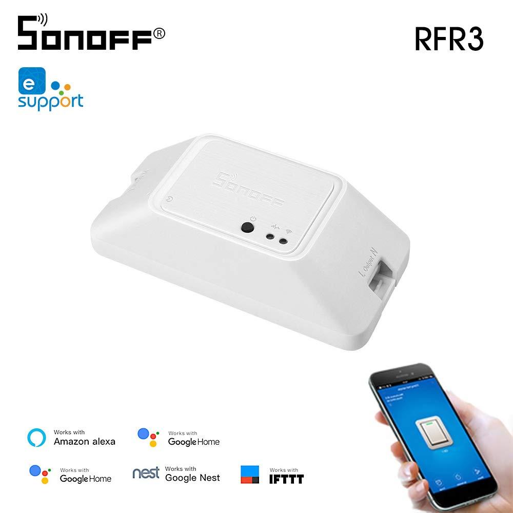 Docooler SONOFF RFR3 WiFi Interruptor Inteligente DIY 433 MHz Control de RF Temporizador Controlador de luz App Control Remoto con Alexa Google Home