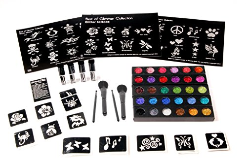 New Glimmer Body Art Temporary Tattoo Pro Business Kit with 100 Extra -