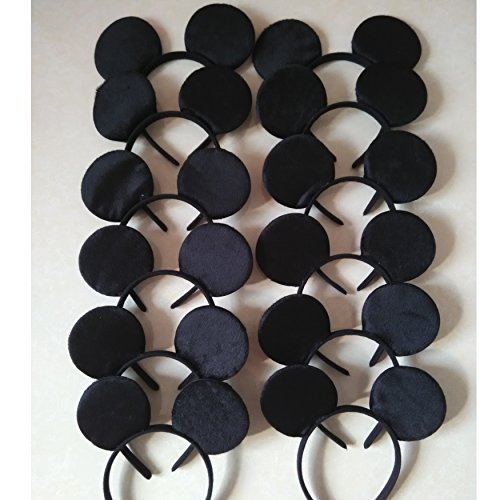 CHuangQi Mouse Ears Headband, Solid Black (Set of 12) -