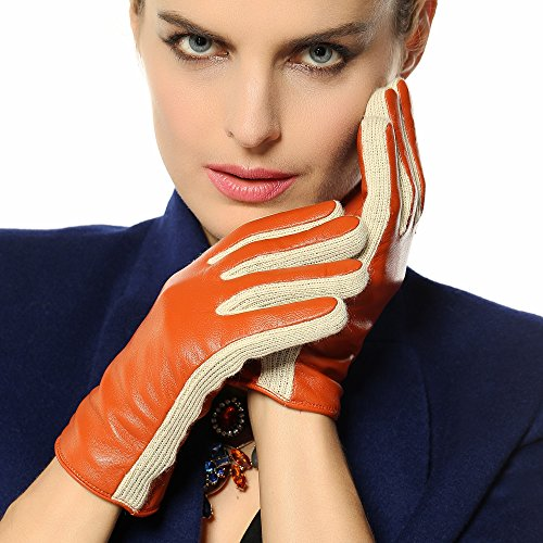 (Warmen Women's Lambskin Genuine Leather Gloves Two Tone with Long Fleece Lining (S, orange))