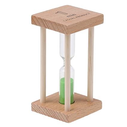 MagiDeal Square Wooden Hourglass Sandglass Sand Timer Kitchen Clock 1 Minute Green