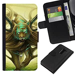All Phone Most Case / Oferta Especial Cáscara Funda de cuero Monedero Cubierta de proteccion Caso / Wallet Case for LG G2 D800 // Wild Magical Tiger Art Drawing Symbolic Time
