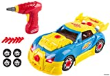 Memtes Take-A-Part Racing Car Toy, with Power Drill, Lights and Sounds (30 Pieces)