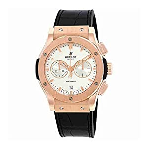Hublot Classic Fusion Silver Dial Black Leather Band 18 Carat Rose Gold Case Automatic Mens Watch 541.OX.2610.LR