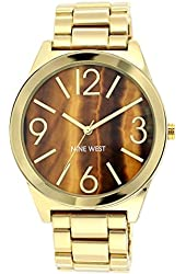 Nine West Women's NW/1584BNGB Brown Tiger Eye Dial Gold-Tone Bracelet Watch