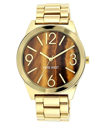 Gold Tone Tigers Eye Bracelet - Nine West Women's NW/1584BNGB Brown Tiger Eye Dial Gold-Tone Bracelet Watch