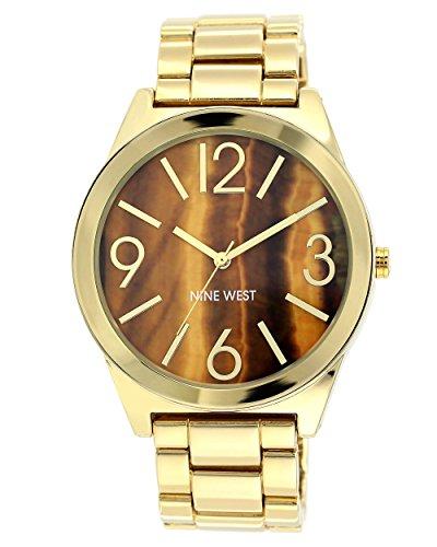 Eye Dial Watch (Nine West Women's NW/1584BNGB Brown Tiger Eye Dial Gold-Tone Bracelet Watch)