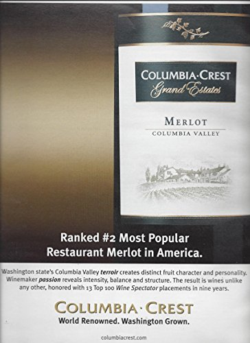 MAGAZINE AD For 2006 Columbia Crest Merlot Ranked #2 Most (Most Popular Magazines)