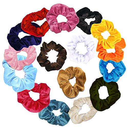 Hair Scrunchies Bright Colorful + 2 Free Pouches Velvet Scrunchie Pack Elastic Hair Ties for Women and Girls (Jewel colors with Bag, Velvet)