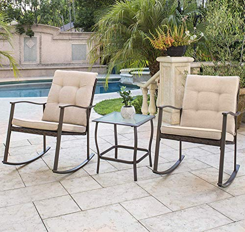 Rocking Chairs Wicker Porch Furniture - Solaura Outdoor Furniture 3-Piece Rocking Wicker Bistro Set Brown Wicker Beige Cushions - Two Chairs Glass Coffee Table