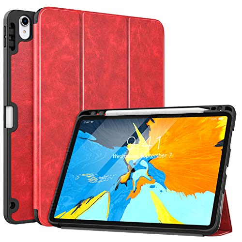 "MoKo Case Fit iPad Pro 11"" 2018 with Pencil Holder [Support Magnetically Attach Charging/Pairing Feature] - Slim Lightweight Smart Shell Stand Cover Case with Auto Wake/Sleep - Red"