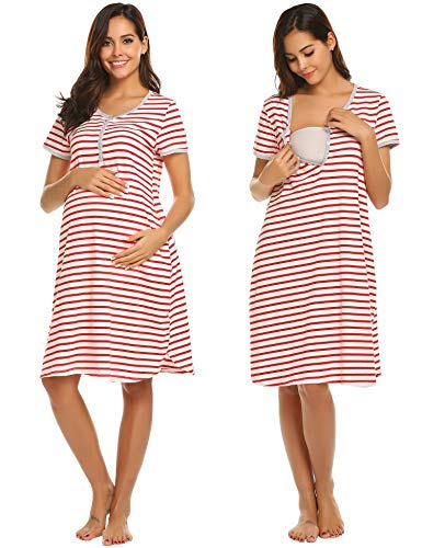 Striped Gown - Ekouaer Hospital Gowns for Women Striped Maternity Nursing Sleepwear with Button Down