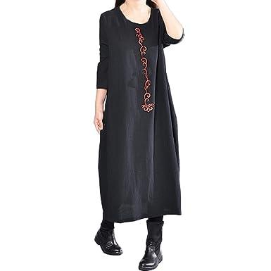iQKA Women Plus Size Retro Boho Maxi Dress Cotton Linen Long Sleeve ...