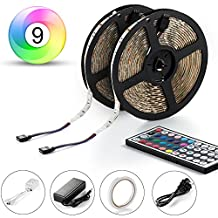 Led Strip, Abask LED Strip Lights Kit SMD 5050 Waterproof 300leds RGB 30leds/m 32.8 Ft (10M) with 44key IR Controller For Car Truck Boat Christmas Graduation Party Weddings Indoor-Outdoor Decoration
