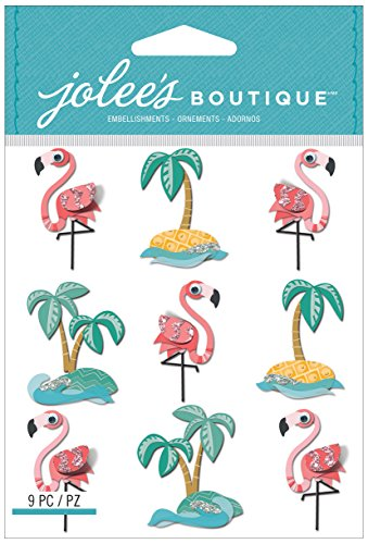 Jolee's Boutique Dimensional Stickers, Flamingos and Palm Tree Repeats