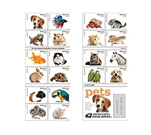 20 Forever USPS stamps Pets celebrate animals in our lives that bring joy, companionship, and love from USPS