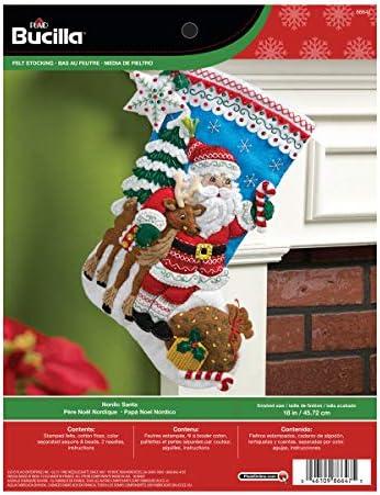 "Bucilla Felt Stocking Applique Kit 18/"" Long-Nordic Santa 86647"