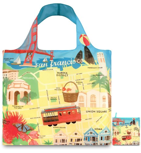 LOQI Urban San Francisco Reusable Shopping Bag, Multicolored -
